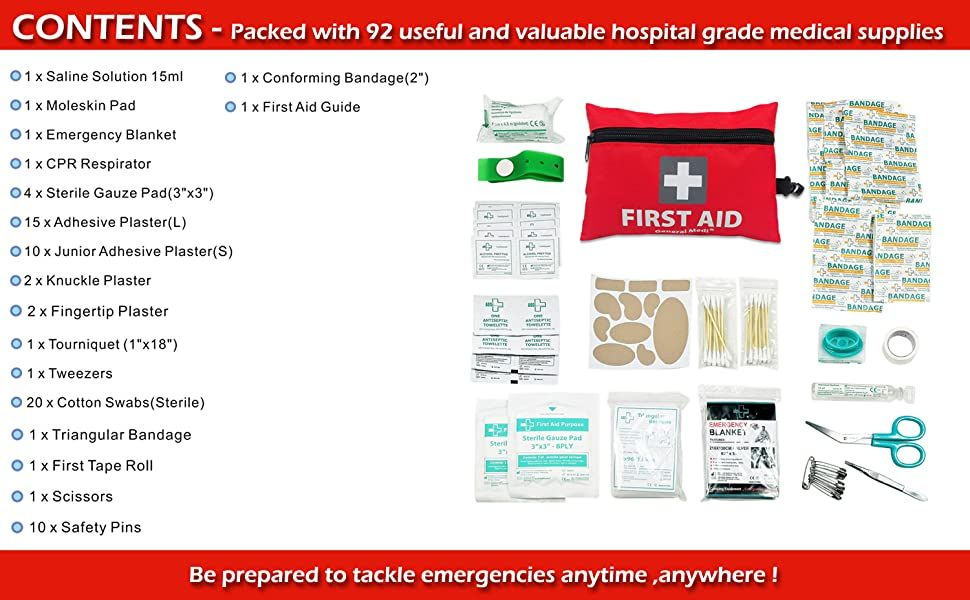 Mini First Aid Kit: 92 Pieces Small First Aid Kit